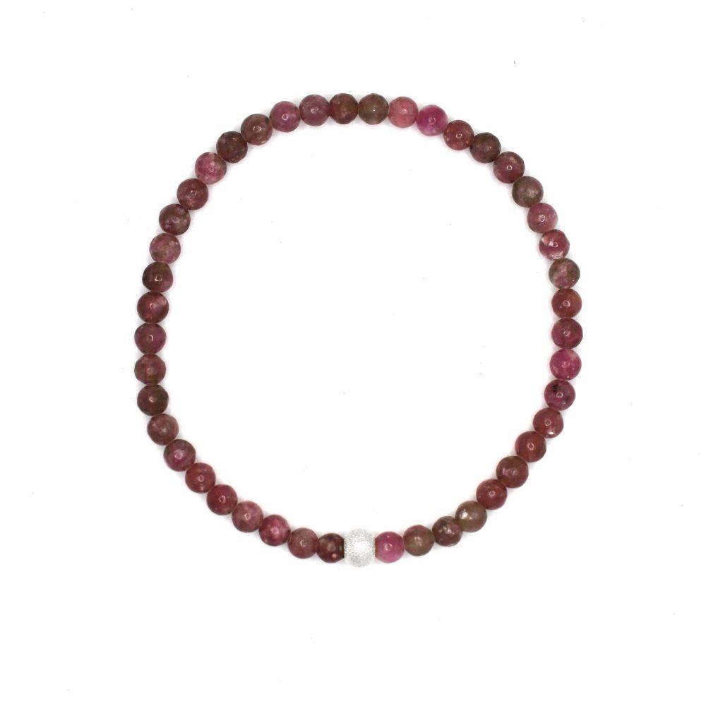 Lepidolite stone bracelet - 925 Sterling Silver - Tokyo Collection