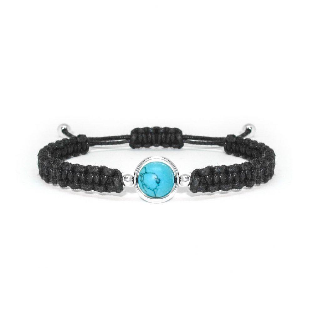 friendship bracelet, macrame bracelet, black bracelet, turquoise bracelet, shamballa bracelet, healing jewellery, gift idea, Turquoise and Silver Cord Bracelet