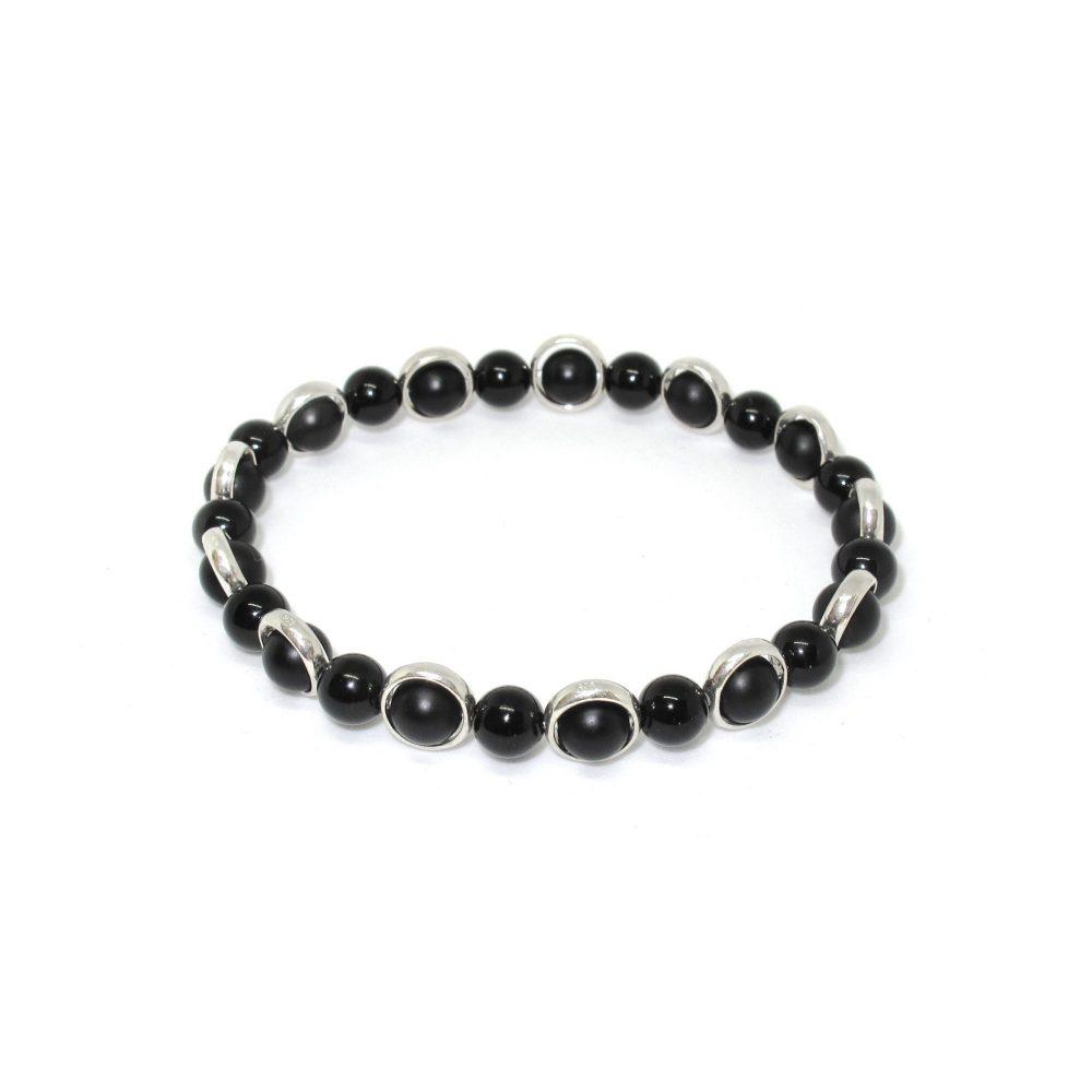 Black Onyx OMMO Bracelet, black onyx mens bracelet, mens beaded bracelet, protection bracelet, sterling silver bracelet, om bracelets, Black Onyx OMMO Bracelet