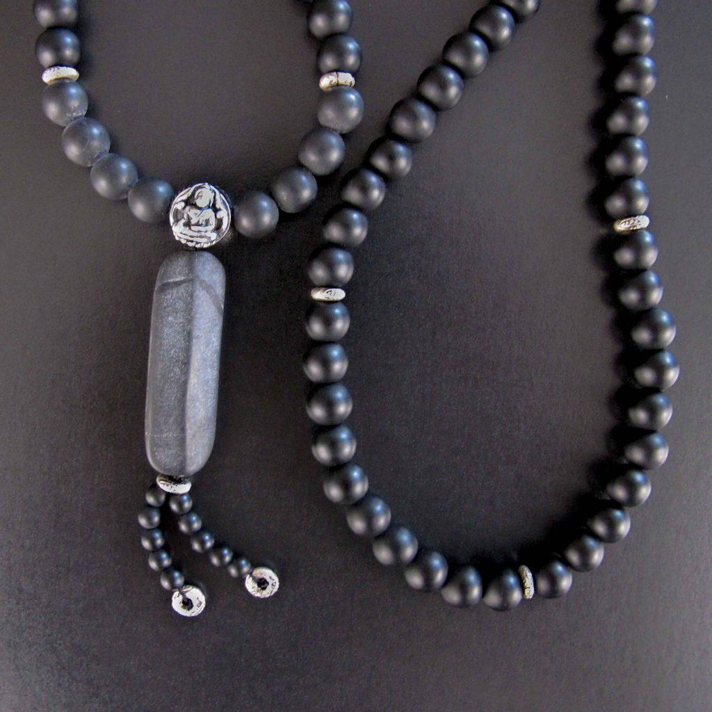 Black and Grey Matte Onyx and Silver Buddha Mala Necklace