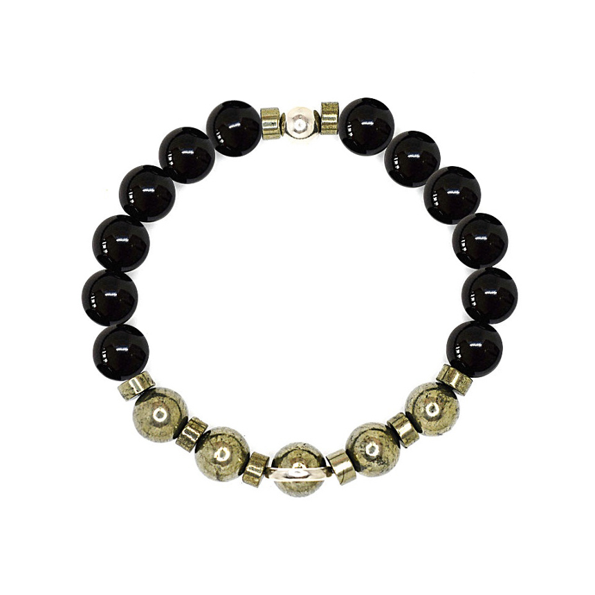 Black onyx bracelet, Mens bracelet, Beaded bracelet, Mens beaded bracelet, Sterling silver bracelet, Spiritual bracelet