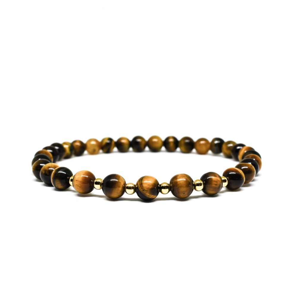 Tiger's eye and 9ct solid gold unisex womens mens beaded bracelet spiritual semi precious front view, OMMO Bracelet