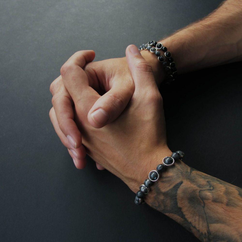 grey bracelet, luxury bracelet, unique bracelet, branded bracelet, designer bracelet, labradorite bracelet, sterling silver, OMMO Bracelet