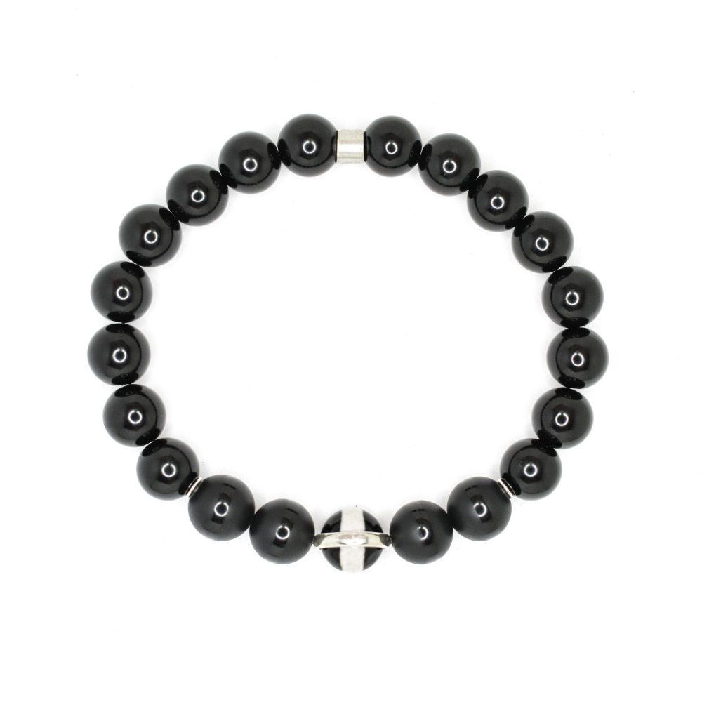 Onyx bracelet, 925 sterling silver mens beaded bracelet, spiritual bracelet semi precious