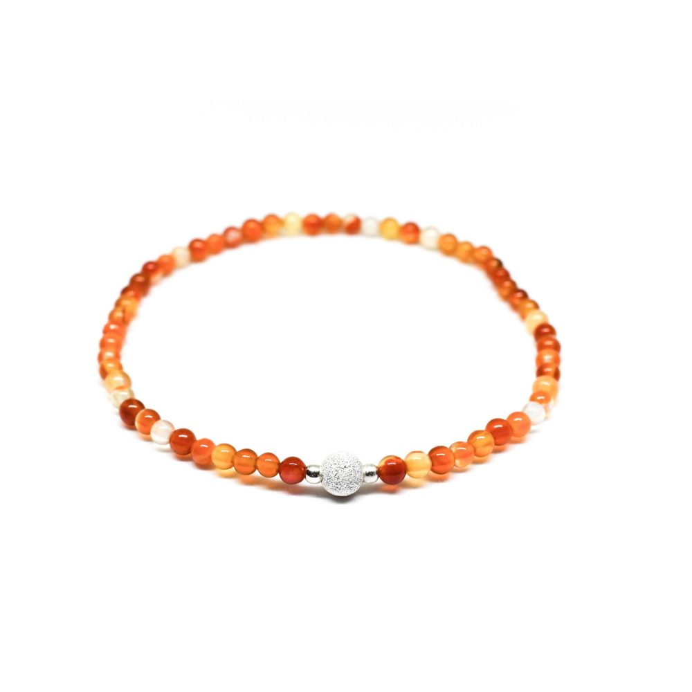 OMMO Tokyo collection stretch beaded bracelet semi precious stone jewellery sterling silver 925 Carnelian Agate women gemstone, Carnelian Agate stone bracelet - 925 Sterling Silver - Tokyo Collection