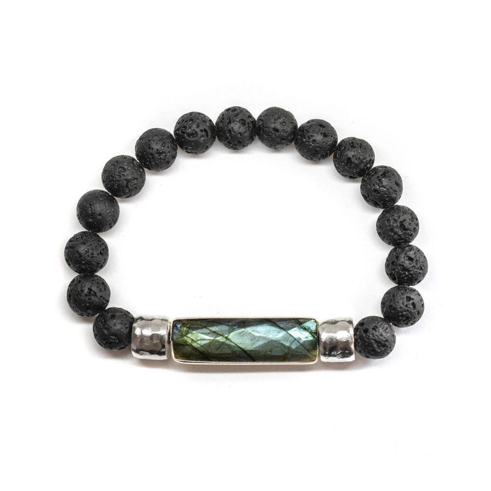 Labradorite beaded bracelet, lava beaded bracelet, black bracelet, mens bracelet, power bracelet, bracelet for men, chakra bracelets