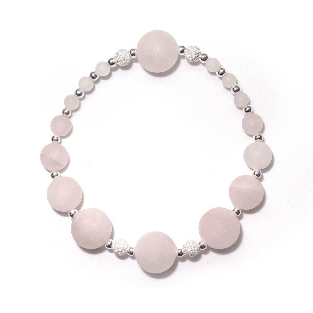 OMMO Paris collection beaded bracelet semi precious stone jewellery sterling silver 925 Rose Quartz women gemstones stretched bracelet, OMMO Bracelet - Paris Collection - Rose Quartz