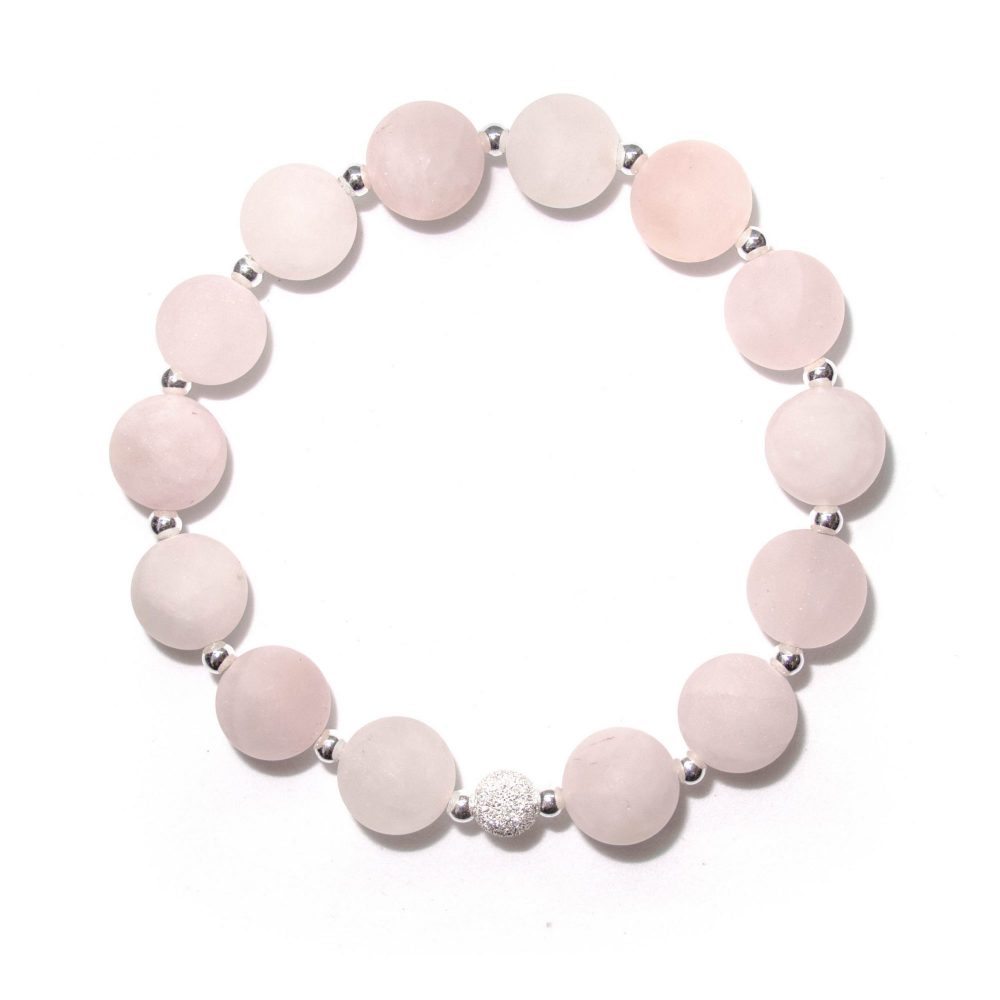 Rose quartz bracelet, bracelet for women, bracelet for mum, gift idea for mum, beaded bracelet, gemstone beaded bracelet, Rose Quartz stone bracelet - 925 Sterling Silver - Tokyo Collection