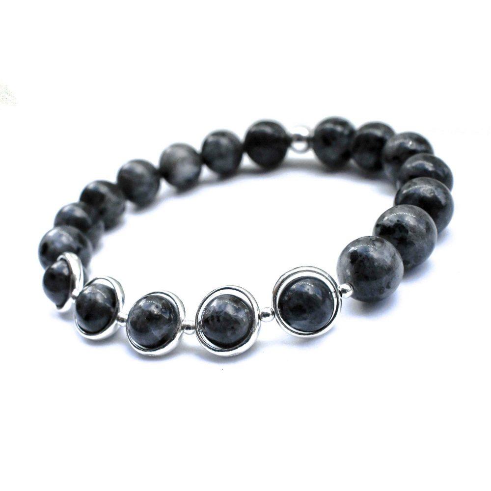 Labradorite bracelet, grey Mens bracelet, Beaded bracelet, Mens beaded bracelet, Sterling silver bracelet, Spiritual bracelet, OMMO Bracelet