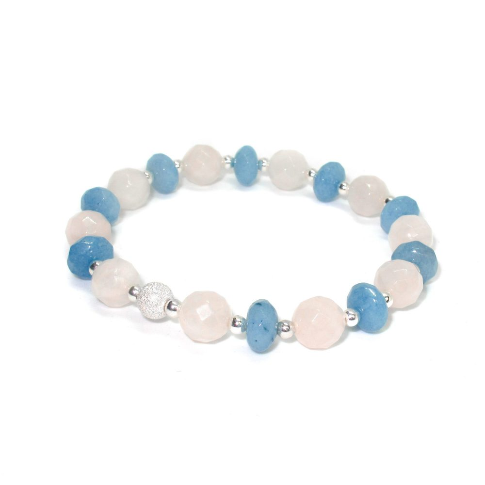 Aquamarine bracelet, silver jewellery, March birthstone, silver bracelet, delicate bracelet, blue and pink bracelet
