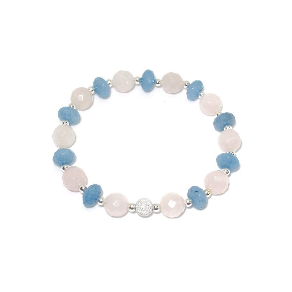 Blue Gemstone Bracelet, Quartz Aquamarine Bracelet, Shambhala Bracelet, aquamarine mala beads, chakra bracelet, healing