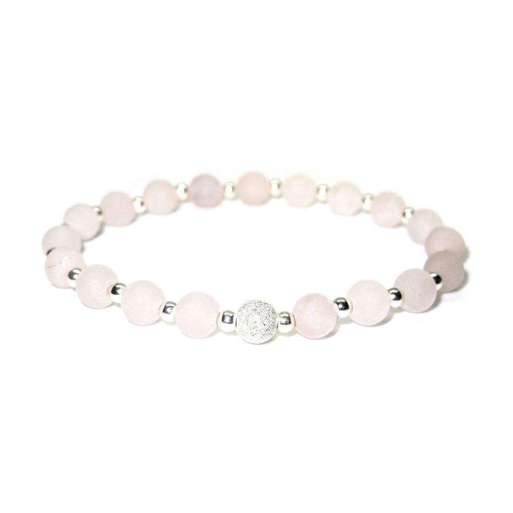 Womens beaded bracelet, Hope bracelet, paris bracelet, semi precious bracelet, healing bracelet, spiritual bracelet. Natural, Rose Quartz stone bracelet - 925 Sterling Silver - Tokyo Collection