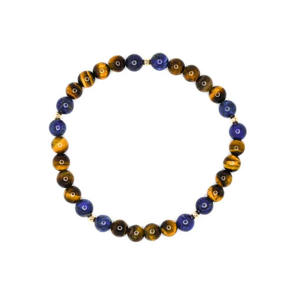 tigers eye bracelet, lapis lazuli bracelet, beaded bracelet for men, beaded bracelet for women, luxury bracelet, 9ct gold, OMMO Bracelet