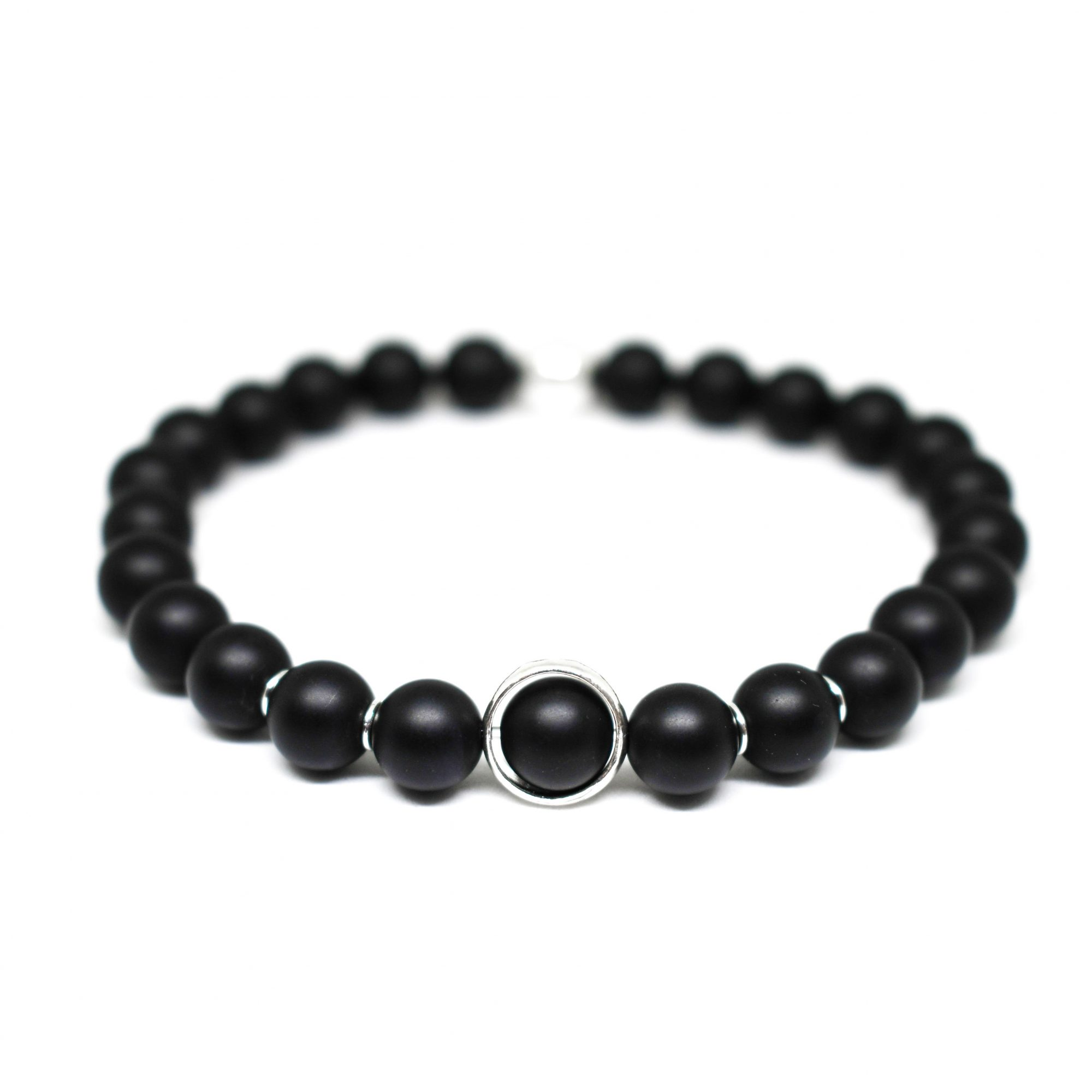 bead signature products onyx matte bracelet polished black jasper wrap image with double