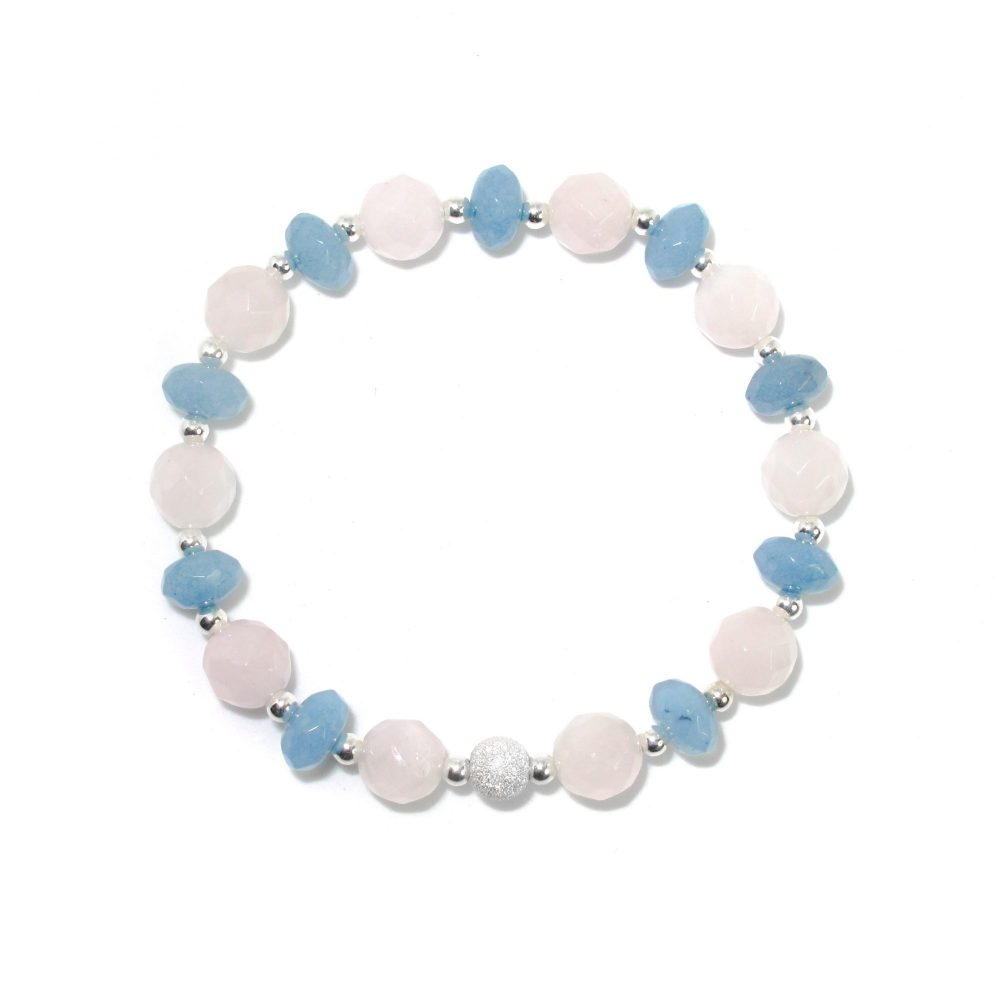 spiritual healing bracelet, rose quartz and brazilian aquamarine bracelet, gift for her, xmas present idea for her