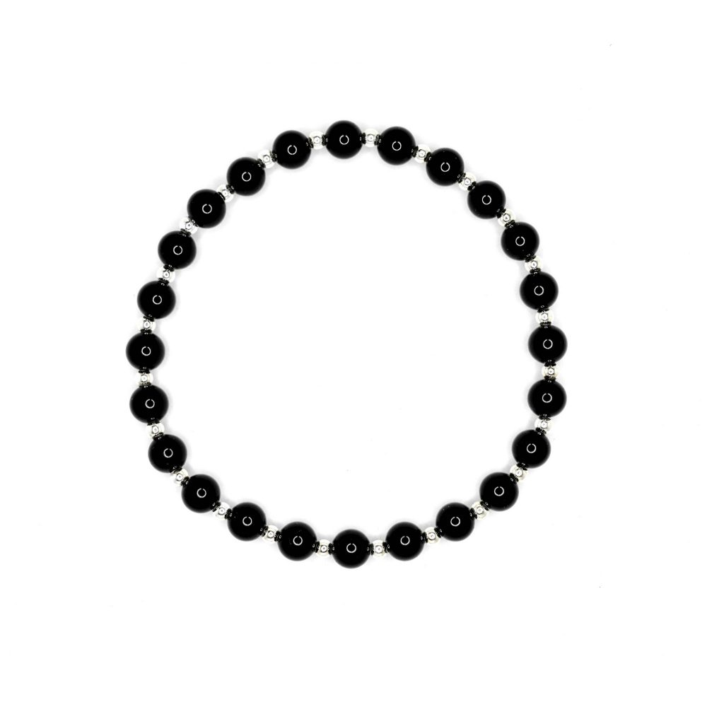 black onyx bracelet for men, black onyx bracelet for women, gemstone bracelet, luxury bracelet, high quality bracelet, opal bracelets for men, black bracelets for men, OMMO London - Beaded Bracelet