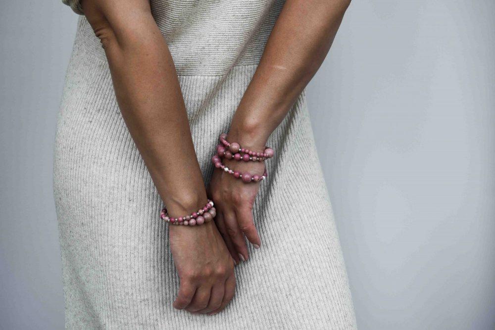 Rhodonite stone bracelet - 925 Sterling Silver - Tokyo Collection