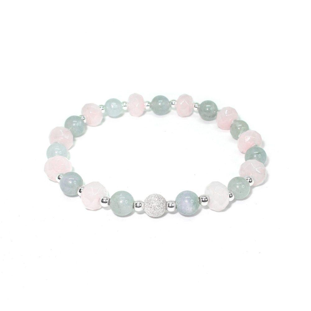 Rose quartz bracelet, aquamarine bracelet, designer bracelet, present for her, present idea, spiritual bracelet, heart chakra