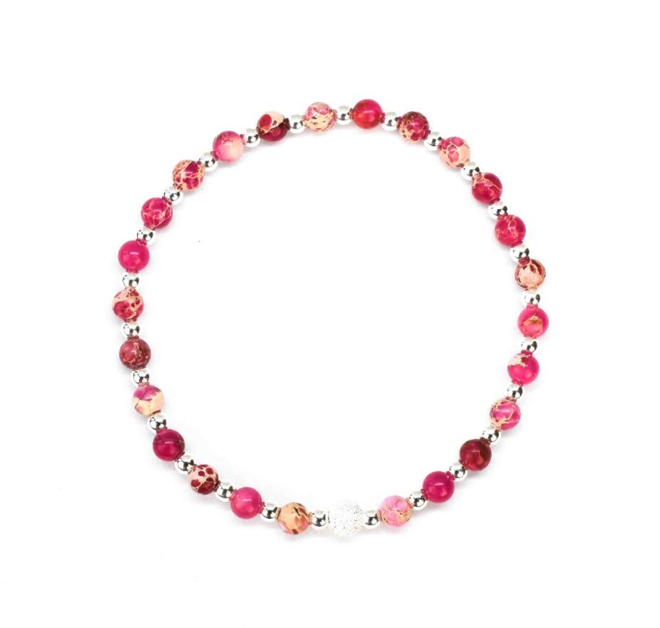 Pink Sediment Jasper stone bracelet - 925 Sterling Silver - Tokyo Collection