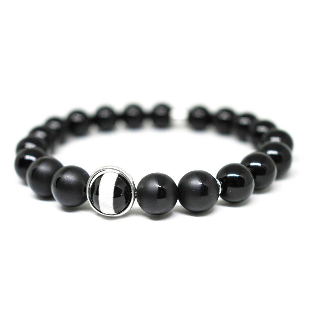 Beaded bracelet, onyx bracelet, sterling silver bracelet, trendy jewellery, present for him, gift for him