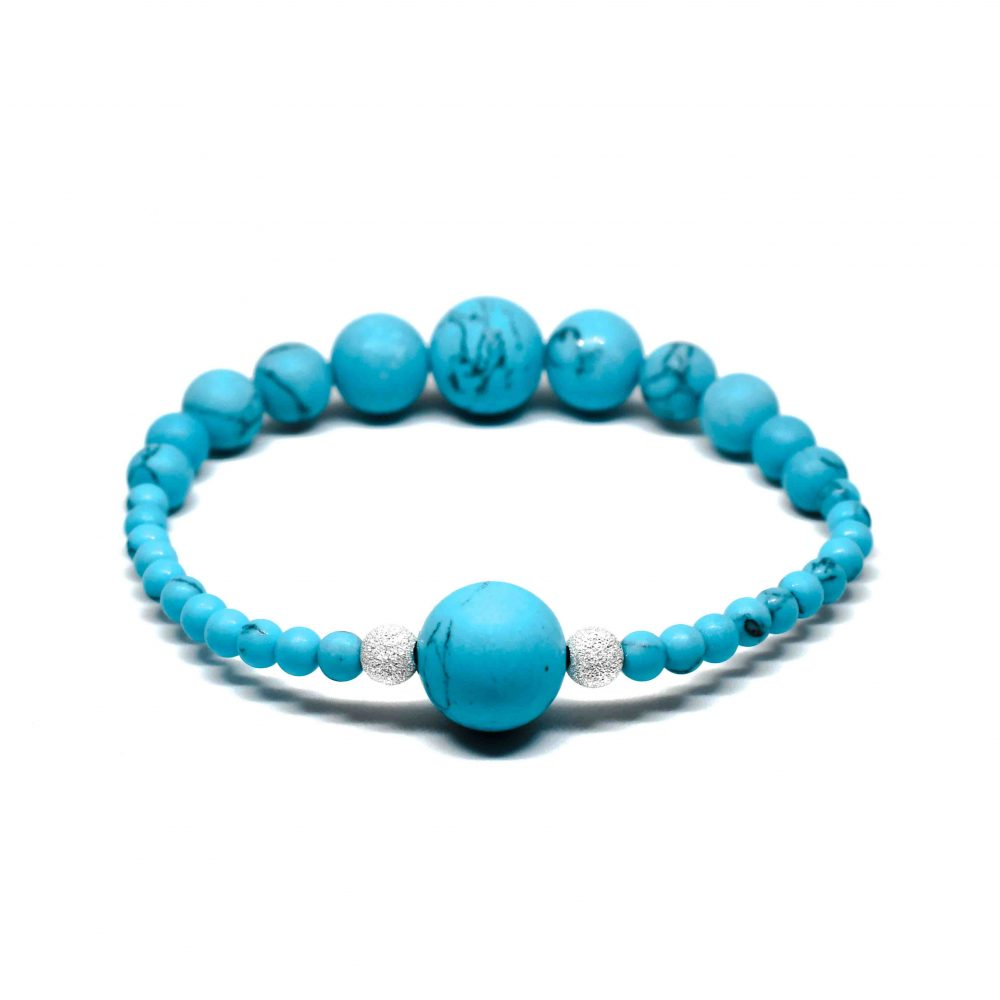 OMMO Paris collection beaded bracelet semi precious stone jewellery sterling silver 925 Blue Turquoise women gemstones, OMMO Bracelet - Paris Collection - Blue Turquoise