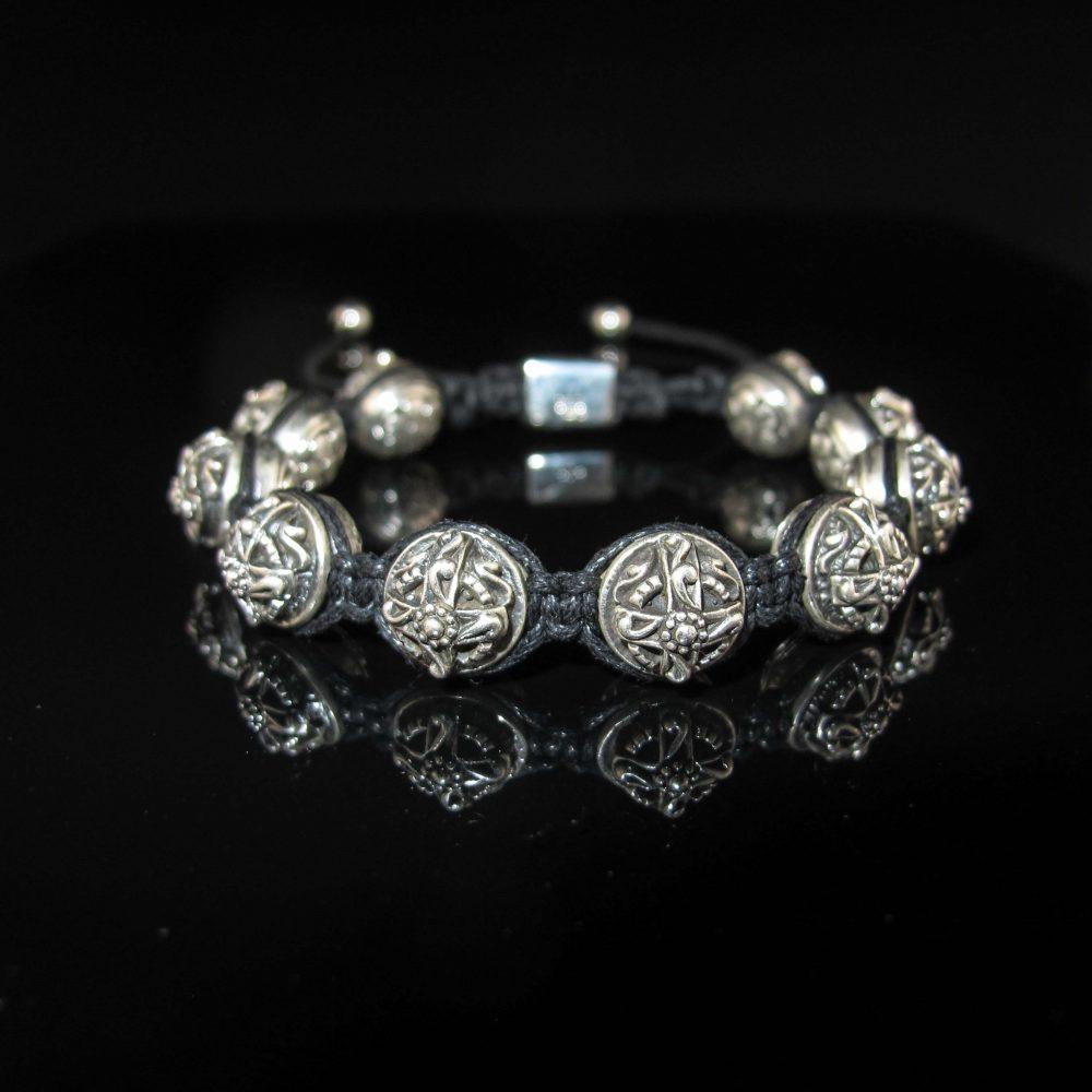 Thai silver beads, thai silver bracelet, thai silver macrame bracelet, luxury bracelet for men, heavy silver bracelet, cross