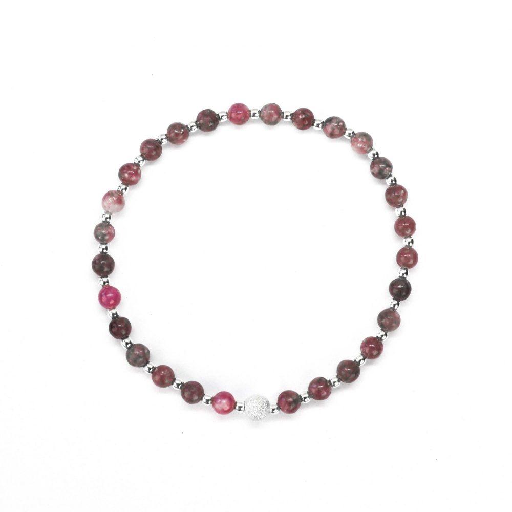 Womens beaded bracelet, Hope bracelet, paris bracelet, semi precious bracelet, healing bracelet, spiritual bracelet. Natural, Lepidolite stone bracelet - 925 Sterling Silver - Tokyo Collection