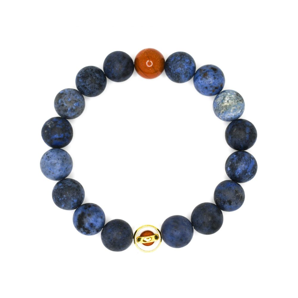 Dumortierite and red jasper 18K gold over 925 sterling silver mens beaded bracelet spiritual semi precious top view