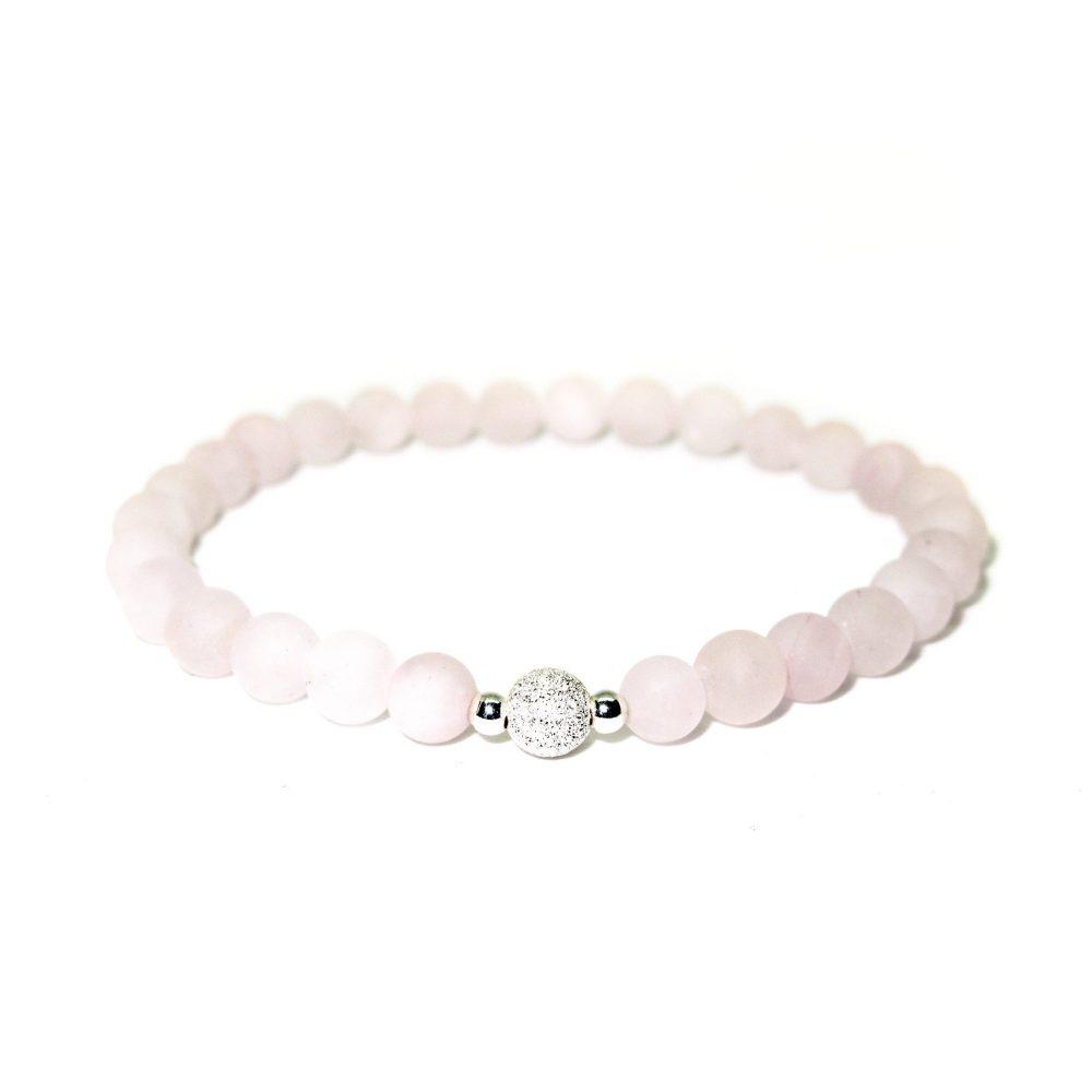 Rose quartz bracelet, sterling silver bracelet, stretch bracelet, womens bracelet, uk seller, bangle, womens jewellery, Rose Quartz stone bracelet - 925 Sterling Silver - Tokyo Collection