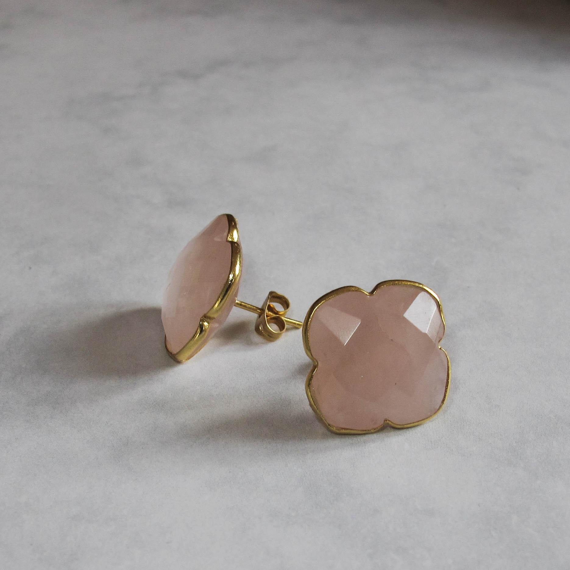 rose quartz earrings, statement earrings, chunky earrings, designer earrings, stud earrings, pink earrings, pink studs, rose, ROSE QUARTZ AND GOLD EARRINGS