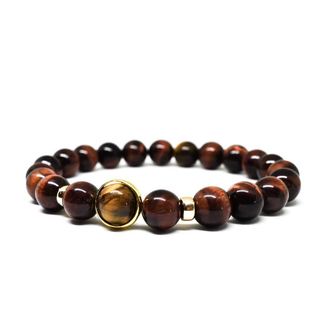 Red tiger's eye 9ct solid gold 18k gold over 925 sterling silver mens beaded bracelet spiritual semi precious side view