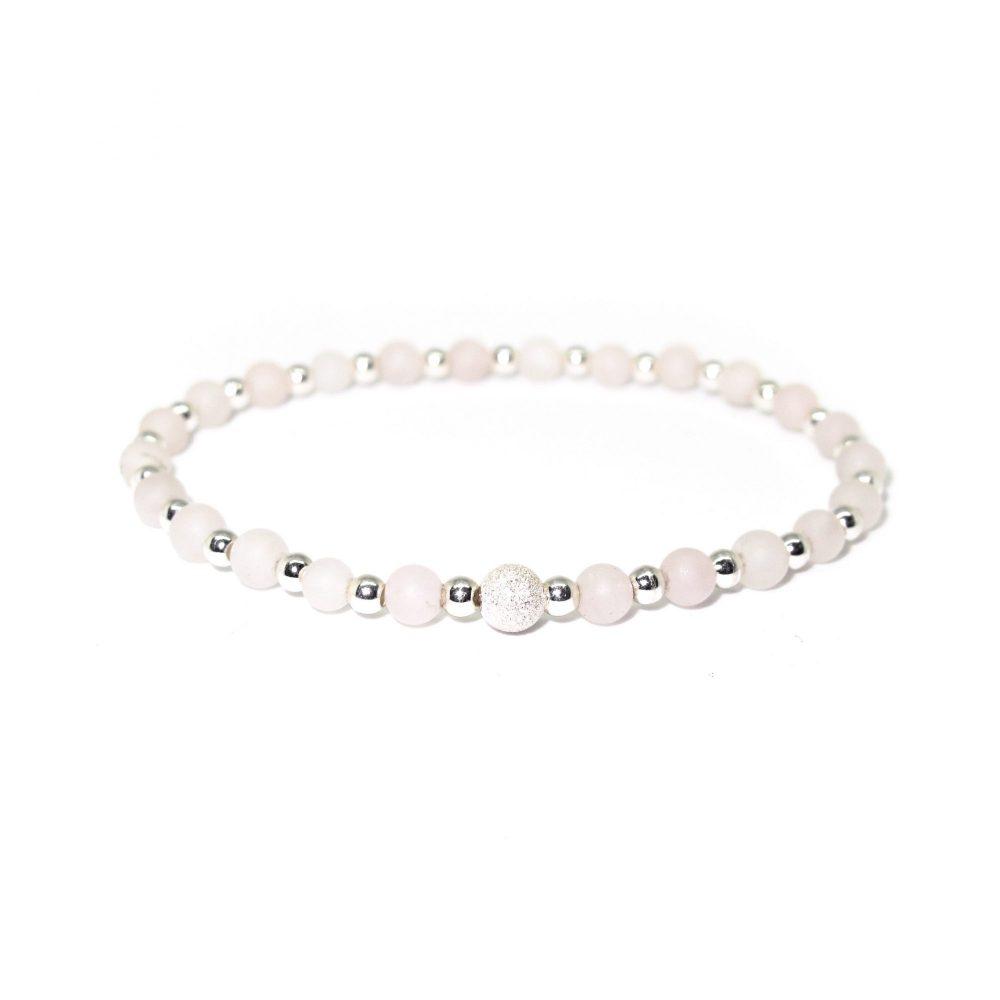 Beaded bracelet, womens bracelet, bracelet for women, bracelet for her, stretch bracelet, present idea for her, uk seller, Rose Quartz stone bracelet - 925 Sterling Silver - Tokyo Collection