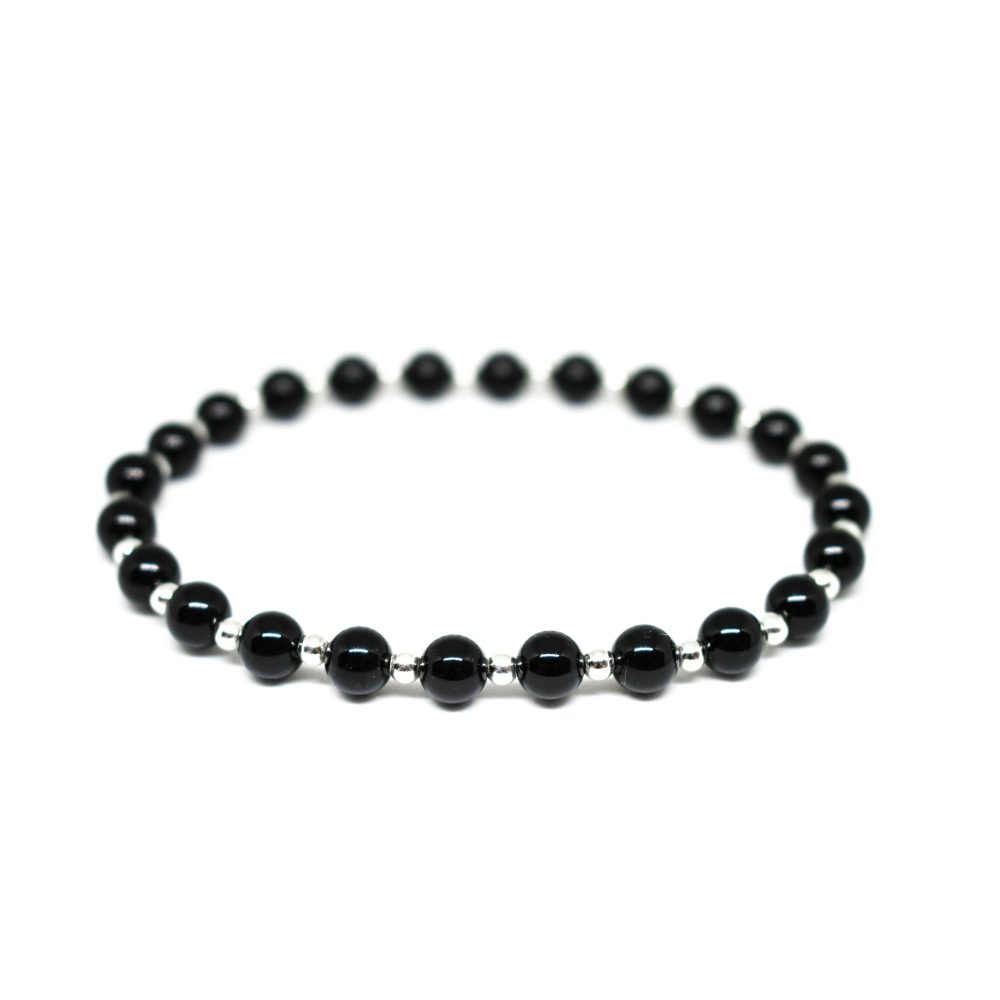 onyx bracelet, beaded bracelet, sterling silver bracelet, black bracelet, mens bracelet, mens beaded bracelet, gemstone, OMMO London - Beaded Bracelet