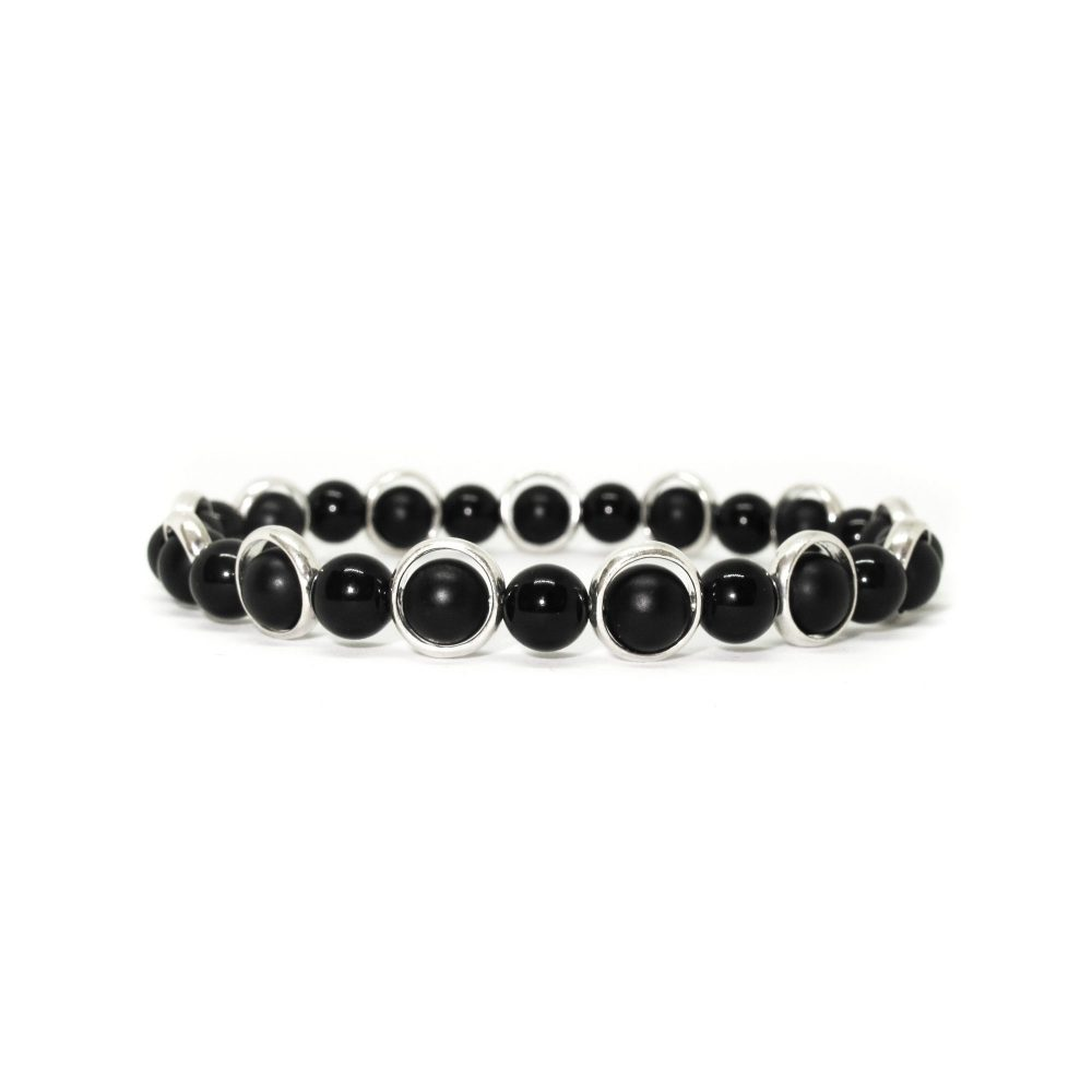 Sterling silver and onyx bracelet, luxury bracelet, designer bracelet for men, christmas present for him, present idea,Black Onyx OMMO Bracelet