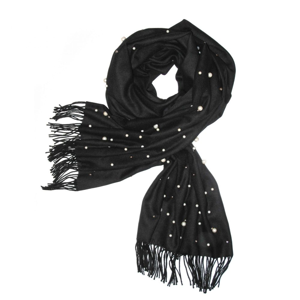 Pearl Studded Black Cashmere Pashmina Scarf