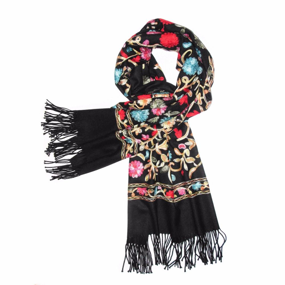Black Embroidered Cashmere Pashmina Scarf