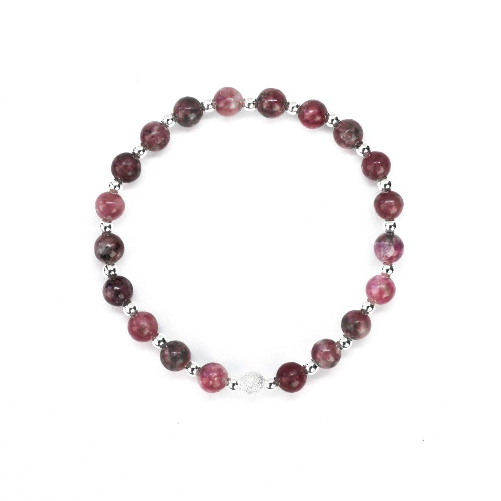 OMMO Tokyo collection stretch beaded bracelet semi precious stone jewellery sterling silver 925 Lepidolite women gemstone, Lepidolite stone bracelet - 925 Sterling Silver - Tokyo Collection