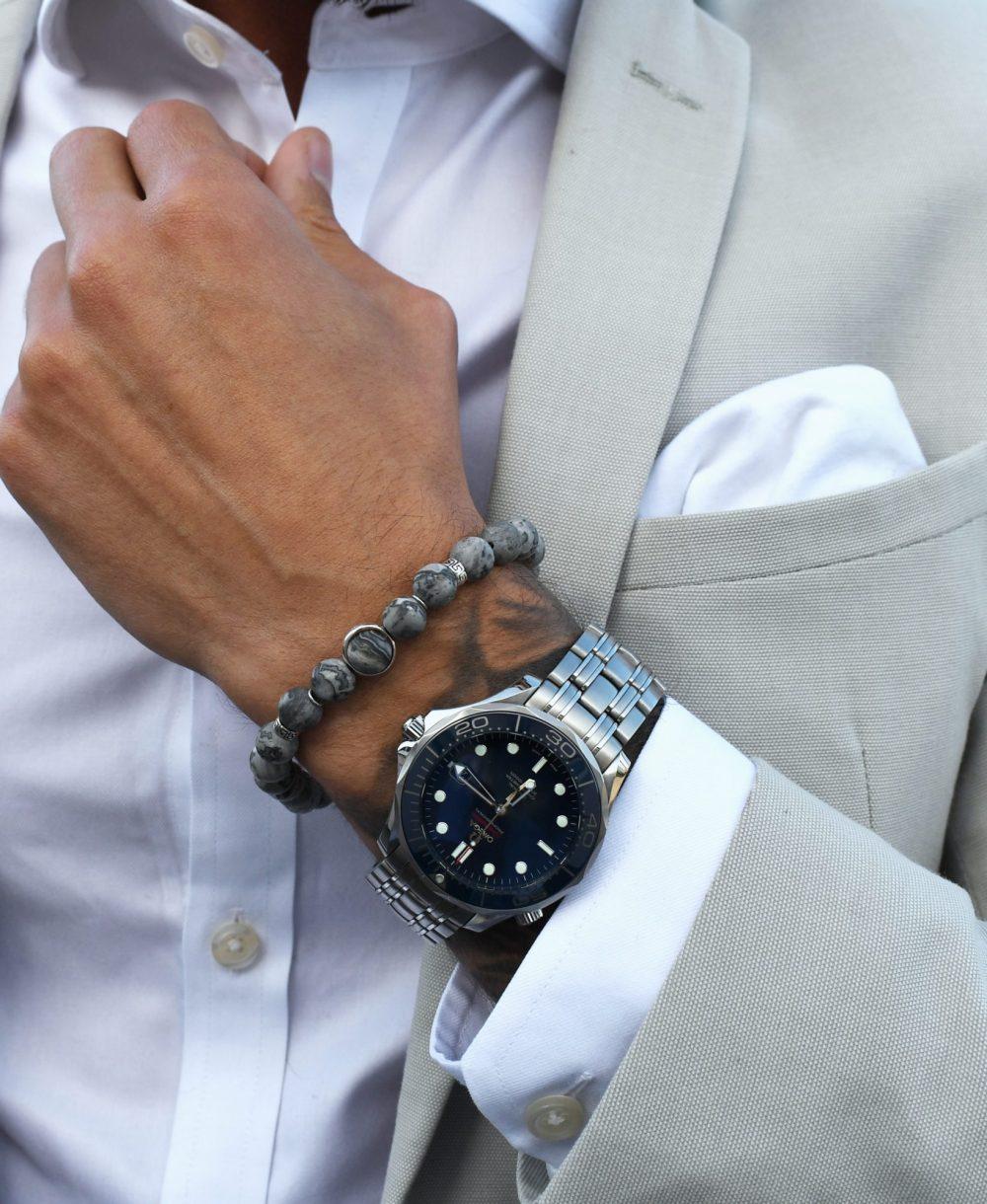 jasper bracelet for men, red jasper bracelet, picture jasper bracelet, mens beaded bracelet, 18k gold bracelet, OMMO Bracelet