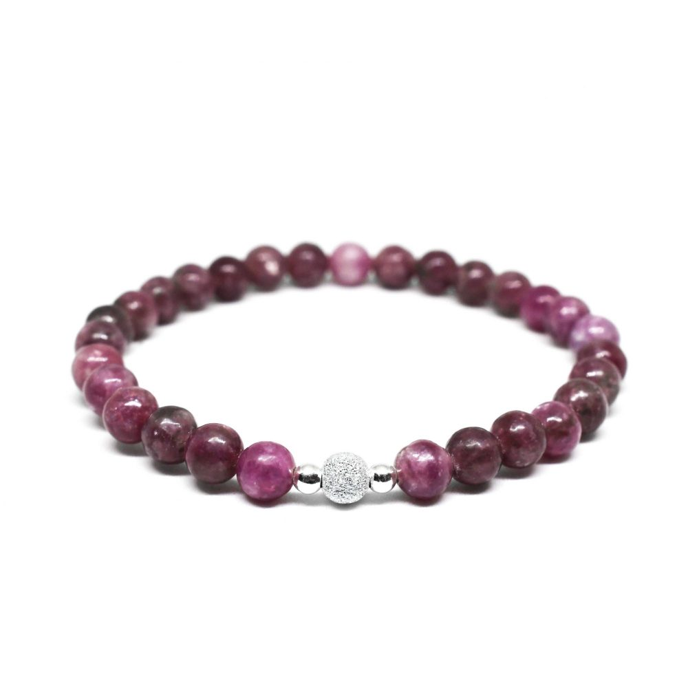 Beaded bracelet for women, lepidolite bracelet, purple bracelet, frosted silver bracelet, unique bracelet, spiritual bracelet, Lepidolite stone bracelet - 925 Sterling Silver - Tokyo Collection
