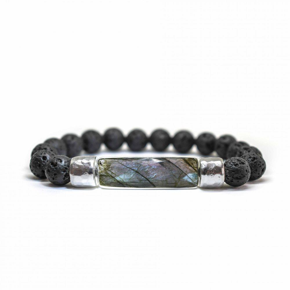 sterling silver bracelet, stretch bracelet for men, stretch bracelet for women, power bracelet, black lava bracelet, beads OMMO Bracelet