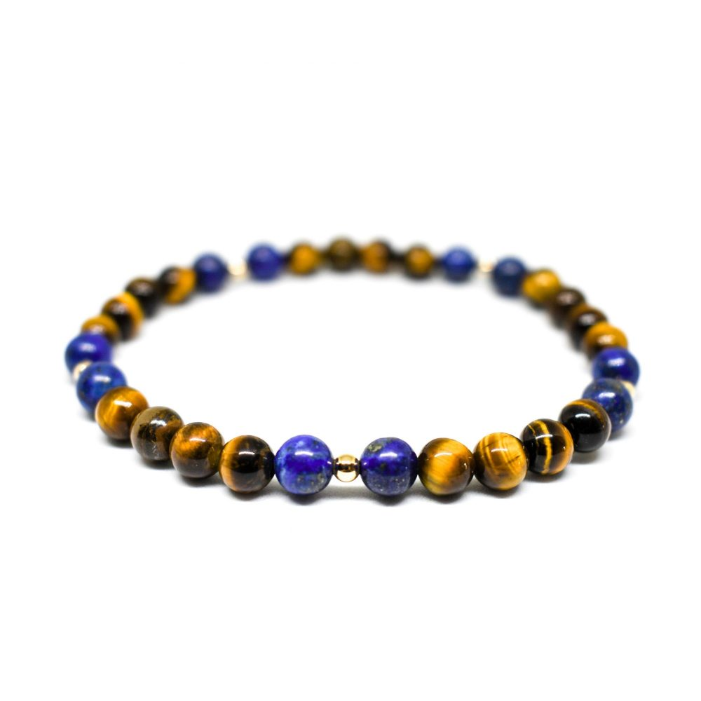 Tiger's eye lapis lazuli and 9ct solid gold unisex womens mens beaded bracelet spiritual semi precious bracelets, OMMO Bracelet