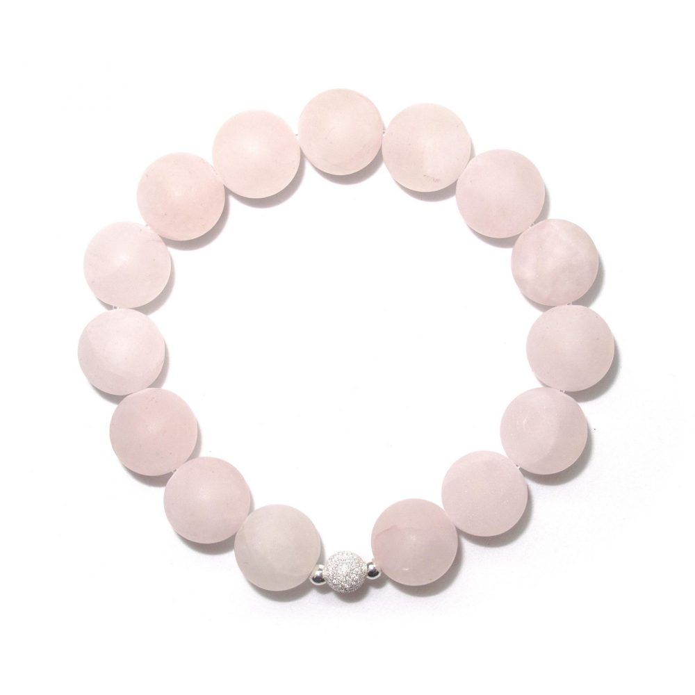 Rose Quartz bracelet, sterling silver bracelet, stretch bracelet, womens bracelet, uk seller, bangle, womens jewellery, Rose Quartz stone bracelet - 925 Sterling Silver - Tokyo Collection