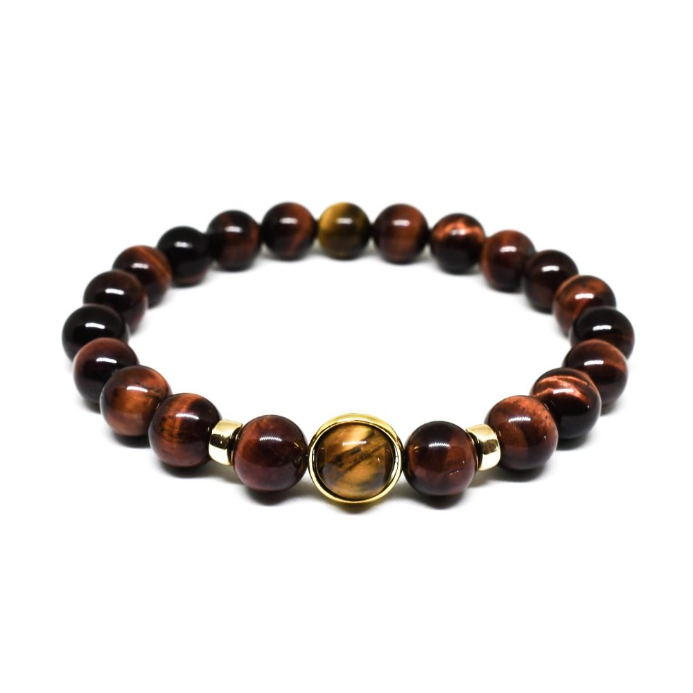 Red tiger's eye 9ct solid gold 18k gold over 925 sterling silver mens beaded bracelet spiritual semi precious front view