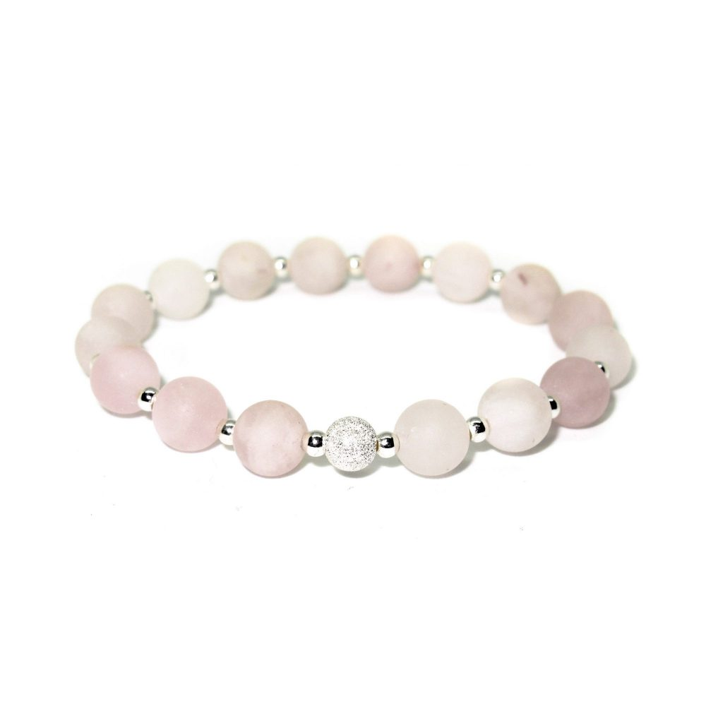 OMMO Tokyo collection stretch beaded bracelet semi precious stone jewellery sterling silver 925 Rose Quartz women gemstone, Rose Quartz stone bracelet - 925 Sterling Silver - Tokyo Collection