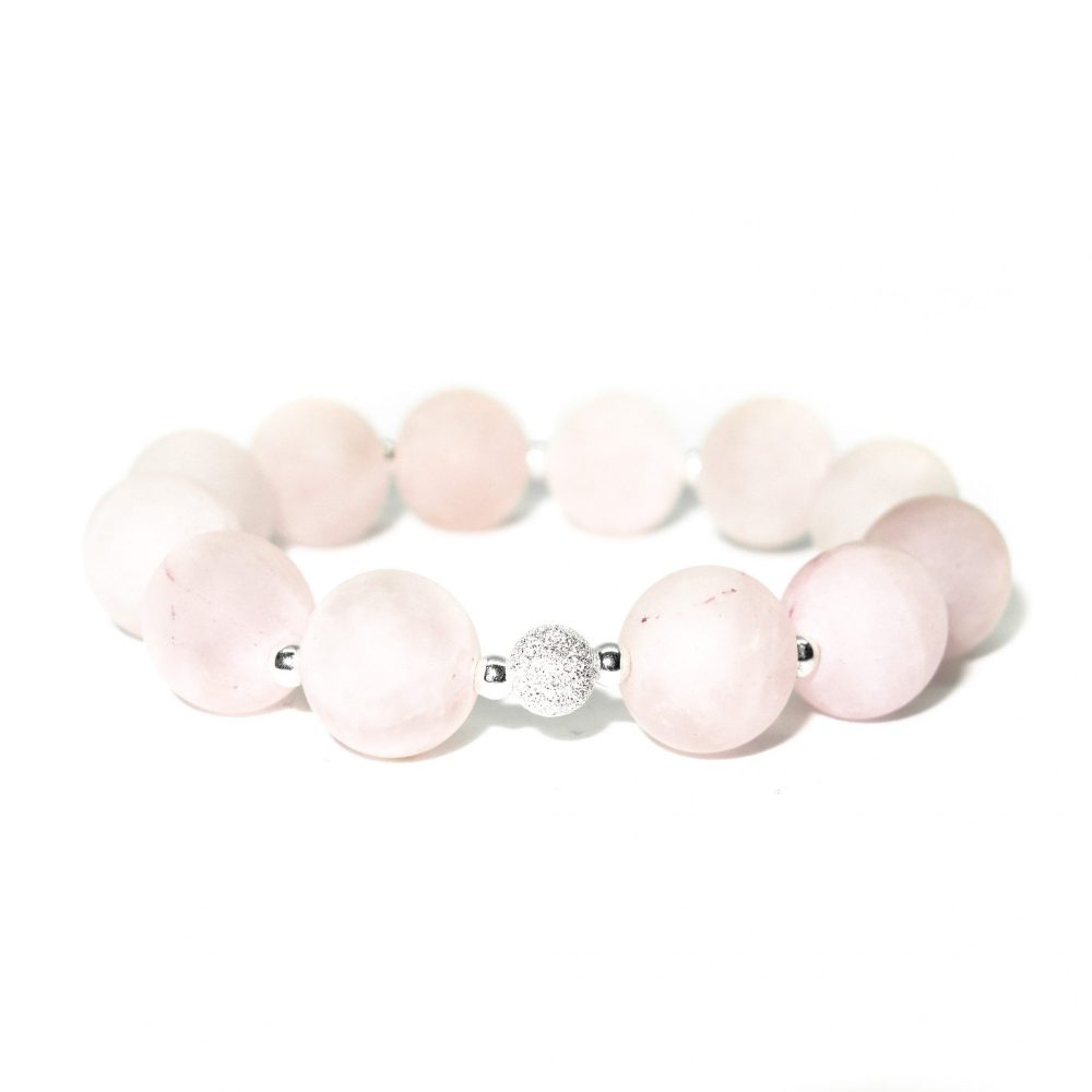 Rose quartz bracelet, bracelet for women, bracelet for mer, gift idea for mum, beaded bracelet, gemstone beaded bracelet, Rose Quartz stone bracelet - 925 Sterling Silver - Tokyo Collection