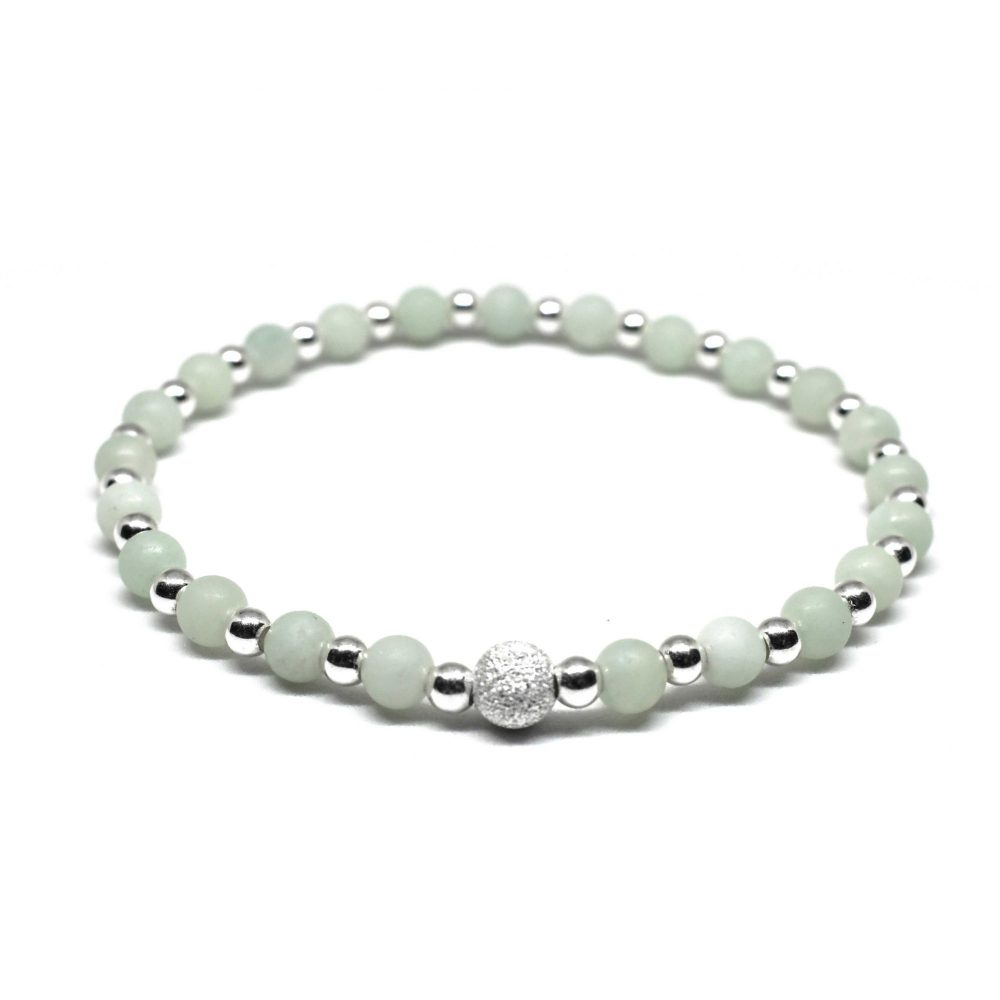 Beaded bracelet, Birthstone bracelet, bracelet for women, bracelet for her, stretch bracelet, present idea for her, uk seller, Amazonite stone bracelet - 925 Sterling Silver - Tokyo Collection