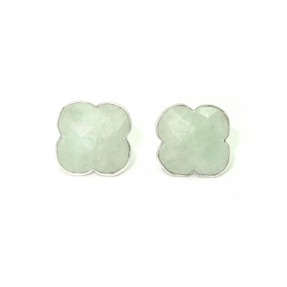 aquamarine earrings, clover earrings, aquamarine clover earrings, green earrings, gemstone earrings, chunky earrings, chakra, AQUAMARINE AND SILVER EARRINGS