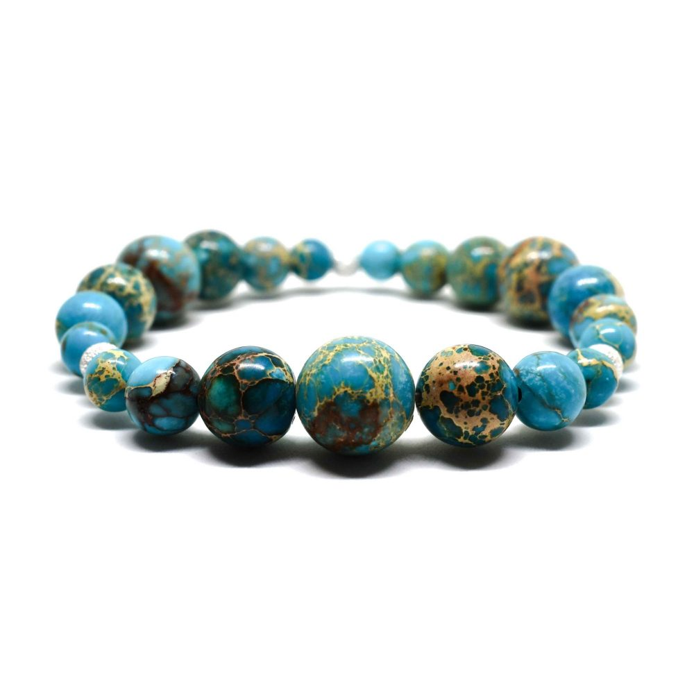 OMMO New York collection stretch beaded bracelet semi precious stone jewellery sterling silver 925 Blue Sediment Jasper women, OMMO Bracelet - New York Collection - Blue Sediment Jasper