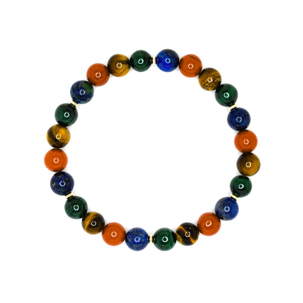Tiger's eye malachite lapis lazuli red jasper and 9ct solid gold unisex womens mens beaded bracelet spiritual semi precious bracelets, OMMO Bracelet