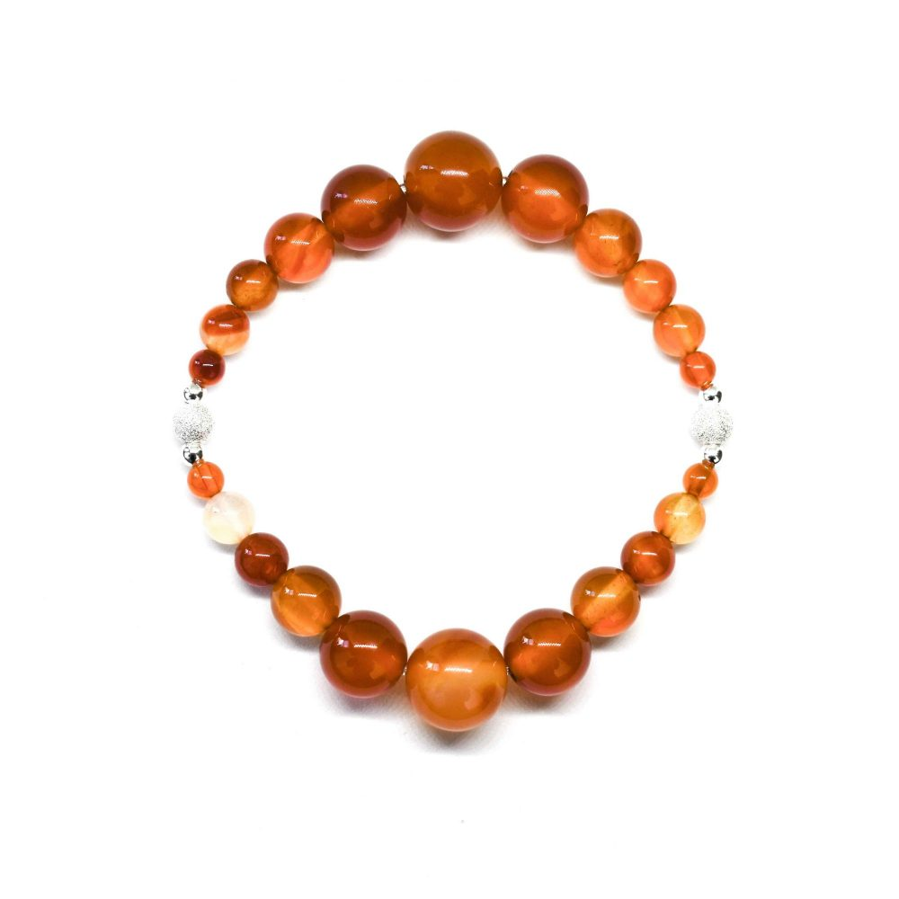 OMMO bracelet, beaded bracelet, gemstone bracelet, semi precious bracelet, yoga bracelet chakra bracelet, orange bracelet, Carnelian Agate - OMMO Bracelet - London Collection